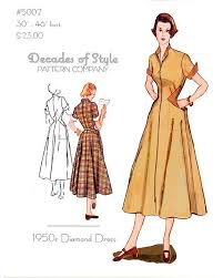 1950s Dress Patterns Simple Diamond Dress 48 Decades Of Style Vintage Style Sewing Pattern