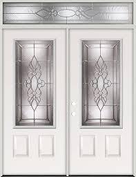 3 4 lite steel prehung double door unit with transom 73