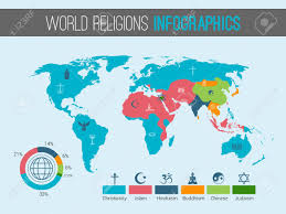 Pie Chart Religions Of The World World Religions Infographic With Pie Chart And Map Vector Illustration