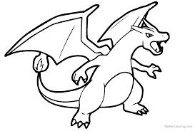 Coloring Pages For Kids Pokemon Charmeleon With Mega Charizard X