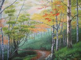 woods deer landscape oil painting