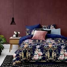 20 offwannaus pink magnolia print 4 piece cotton dark blue duvet cover sets