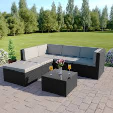 sofa set. Fine Sofa 6 Piece Barcelona Modular Rattan Corner Sofa Set In Black With Light  Cushions INCLUDES FREE PROTECTIVE On