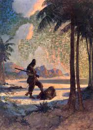 robinson crusoe candlelight stories cannibals come to crusoe s island and make him believe there is a possibility of confrontation but in this section of the book crusoe meets his companion