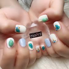 ホワイトターコイズブルー Pachiraのネイルデザインno4201188
