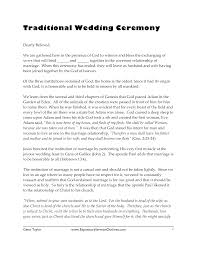 Ceremony Template Traditional Wedding Ceremony Sermon And Vows