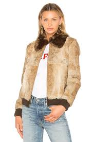a p c brigit fur jacket in beige