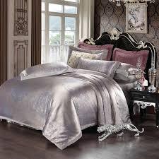 velvet jacquard satin bedding sets silk duvet cover bed sheet sets luxury le king queen size gift housse de couette silver bedding sets for