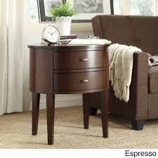 Aldine 2-drawer Oval Wood Accent Table by Inspire Q (Espresso), Brown