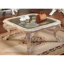 whitewash coffee table. Callie Whitewash Coffee Table With Beveled Glass Top - YTF-CA2035-COFFEE