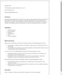 Resume Templates: Hotel Management Trainee