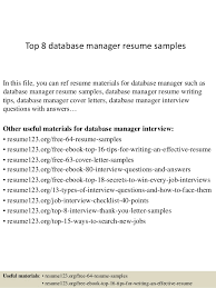 resume samples for database management candidates These sql dba resume  database administrator resume RecentResumes com
