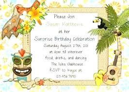 Hawaiian Party Invitations Luau Hawaii Birthday Party Invitation