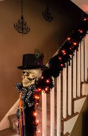halloween party lighting. halloween stair garland feathers raven poe decor lights chandelieru2026 party lighting