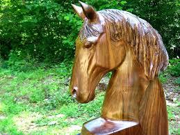 walnut wood horse head sculpture sleepy hollow art wooden cutout