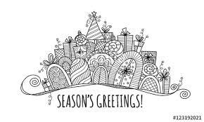 Seasons Greetings Modern Christmas Banner Doodle Vector
