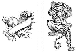 Small Picture Tattoo coloring pages heart and tiger ColoringStar