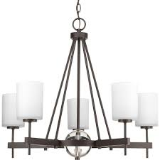 progress lighting compass collection 5 light antique bronze chandelier with opal etched glass shade