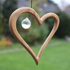 Fenster Deko Zum Aufhängen Herz Aus Holz Regenbogenkristall