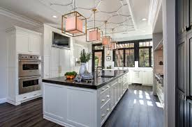 White Marble Kitchen Floor Stone Kitchen Flooring Rustic Style Dark Brown Cabinets And Island