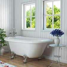 small clawfoot tub. Luxury 54 Inch Small Clawfoot Tub With Vintage Design In White, Includes Polished Chrome