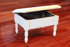 Amazon.com: Frenchi Home Furnishing Footstool with Storage, White finish  with dark beige cover: Kitchen & Dining