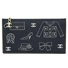Amazon シャネル Chanel アイコンイラスト ポーチ キャンバス ブラック
