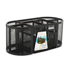 rolodex pencil cup mesh oval supply caddy 7 compartment 9 1 3 w x 4 1 2 d x 3 9 10 h 1 unit black 1746466 ca office s