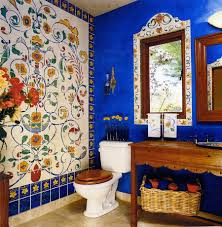 bathroom: Terrible Decoration Of Eclectic Bathroom With Faux Tile Wall Decor  In Flowery Design Beside