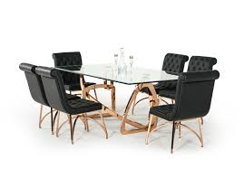 Modrest Oro Rosa Modern Clear Glass Rosegold Large Dining Table