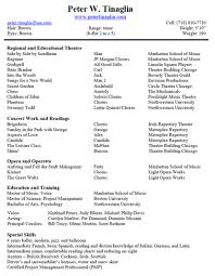 Sample Theater Resume Musical Theatre Resumes Skills Template Word