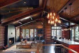 cabin lighting ideas. Living Space, Lighting, Breakfast Table, Modern Log Cabin In Telluride Colorado Lighting Ideas
