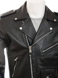 men s leather biker jacket in black ashcombe side