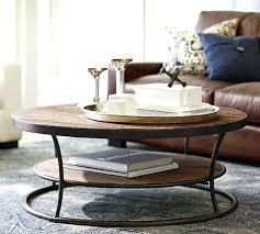 reclaimed wood coffee table berwyn round metal and threshold