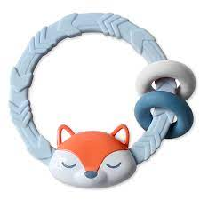 Amazon.com: Itzy Ritzy Silicone Teether with Rattle; Features Rattle Sound,  Two Silicone Rings & Raised Texture to Soothe Gums; Ages 3 Months & Up;  Fox: Baby