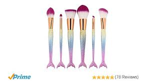 amazon 6 pieces mermaid makeup brush set lovely makeup brush kit for s portable beauty cosmetic tools women cosmetic concealer brush beauty