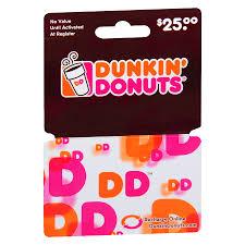 dunkin donuts 25 gift card1 0 ea