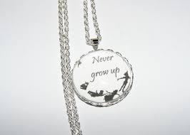 personalised necklace pendant never grow up e peter pan tinkerbell disney gift