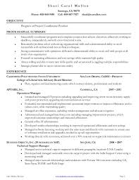 Gallery Of Project Coordinator Resume Project Manager Objectives