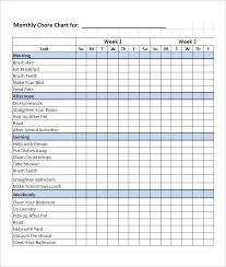 Household Chore List Template 10 Family Chore Chart Templates Pdf Doc Excel Free