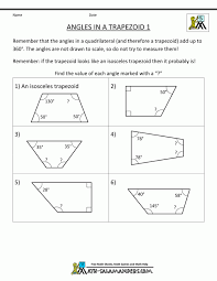 geometry worksheets angles in a trapezoid 1 pinterest free ...