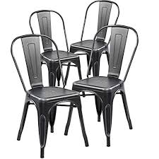 distressed metal furniture. Modern Distressed Metal Stackable Dining Chairs (Set Of 4) Vintage Kitchen Chair Antique Black Silver Furniture D