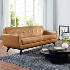 modway furniture engage bonded leather sofa in tan hover to zoom