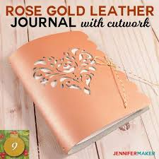 diy leather journal with cutwork made on a cricut heart rose svg cut file