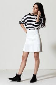 <b>Patchwork</b> A-line <b>Stretch</b> Leather Skirt: White – Daryl K