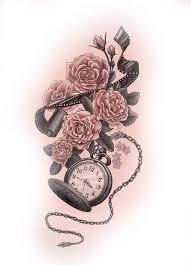 эскиз тату фото часы розы и пленка татуировки и эскизы часы компасы