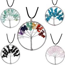 whole por natural healing stone jewelry hollowed out design women pendant chakra crystal gem tree of life necklace long pendant necklaces pearl