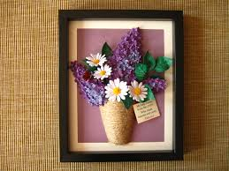 Quilled lilac and daisies in a vase (the frame is aprox. 22x27.5