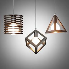 metal lighting. Vintage Pendant Lamps Metal Cube Cage Lampshade Lighting Hanging Light Fixture Rustic E27-in Lights From \u0026 On