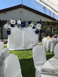 Paper Flower Photo Booth Backdrop Royal Blue Silver And White Paper Flower Backdrop Photo Booth